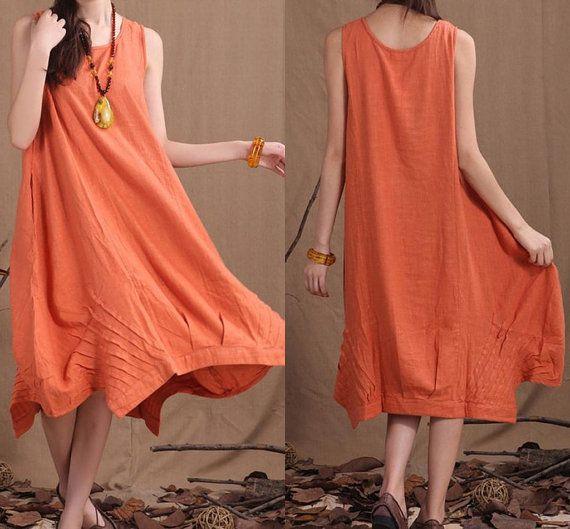 Leisure orange linen irregular sleeveless vest skirt / by dreamyil, $90.00