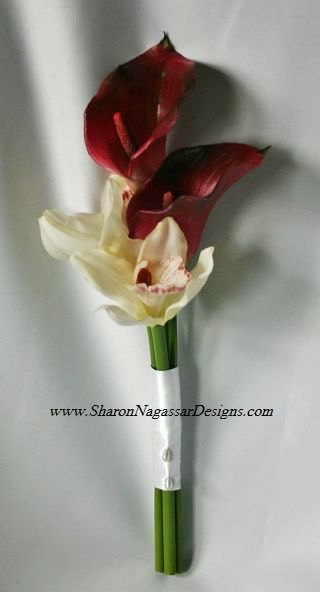 Burgundycallaorchidbridesmaidbouquet C Jpg 320 592 Pixels Simple Bridesmaid Bouquets Bridesmaid Flowers Bridal Bouquet Fall