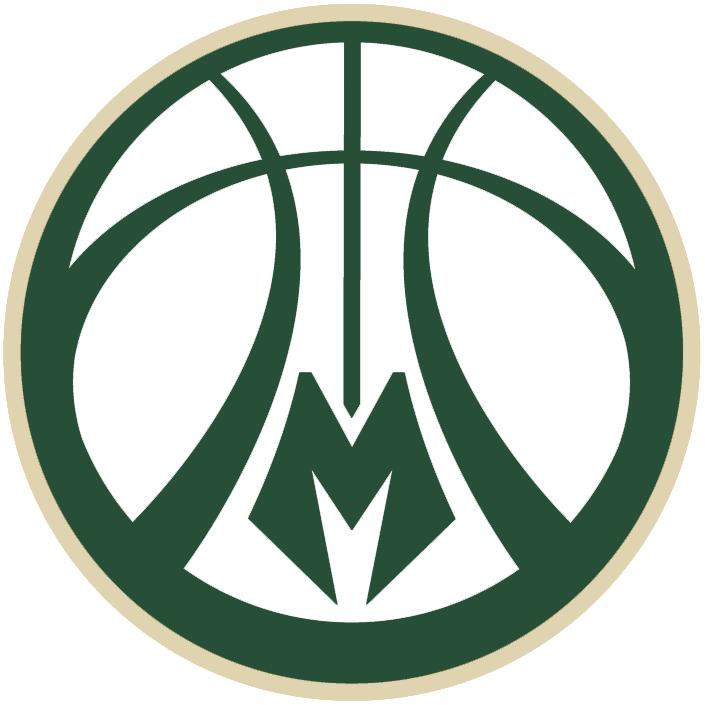 3d55721420b Milwaukee Bucks Alternate Logo (2016) - Green and cream basketball with  deer antler design in the seams