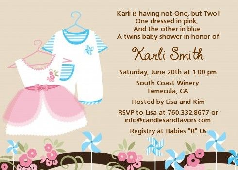 twin little outfits 1 boy and 1 girl - baby shower invitations, Baby shower invitations