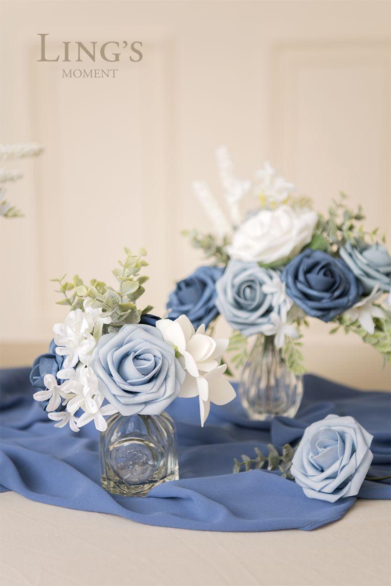 Dusty blue flowers box set 3 colors blue flowers