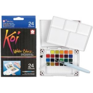 Koi Watercolor Paint Pocket Field Sketch 24 Color Set Multi Pan