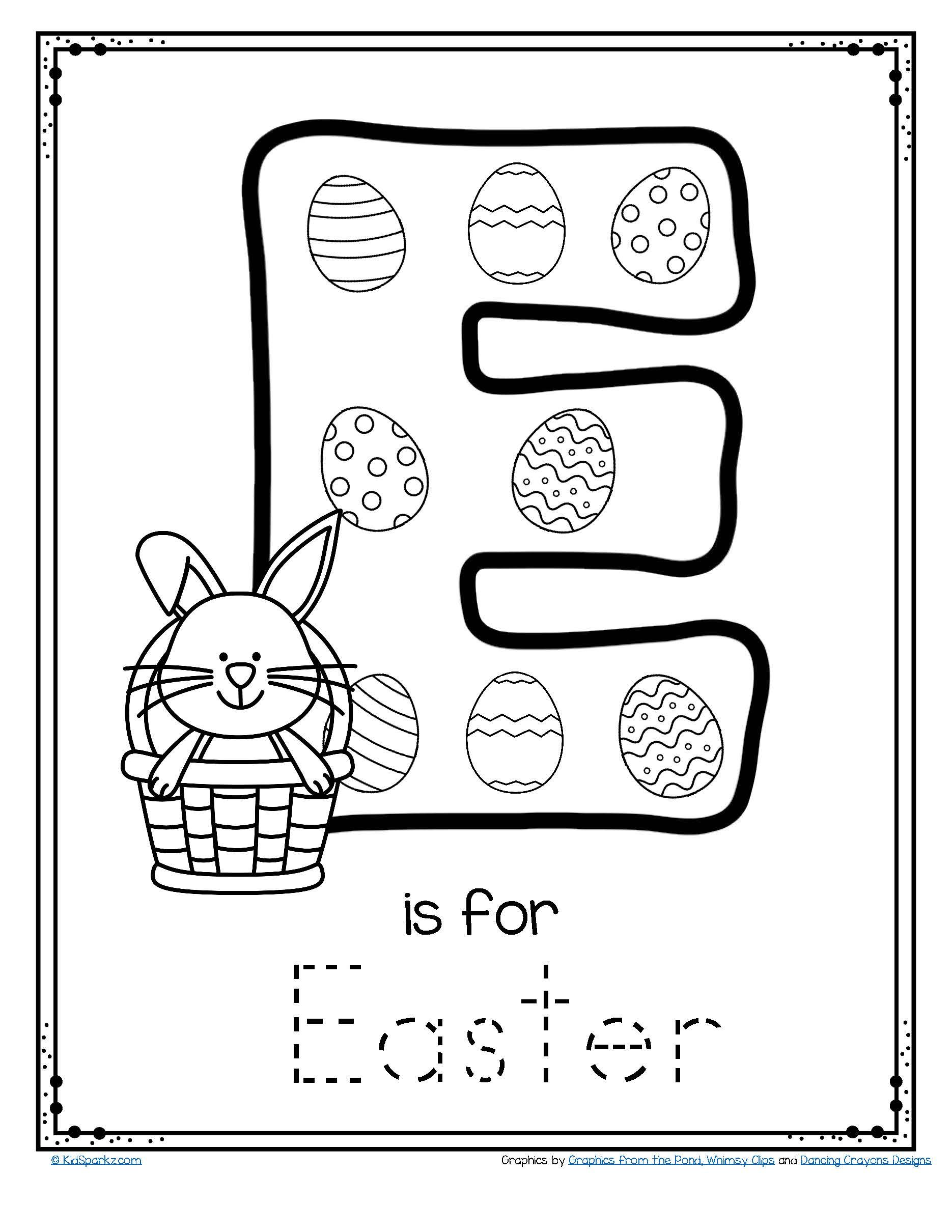 Letter E Is For Easter Trace And Color Printable Free Easter