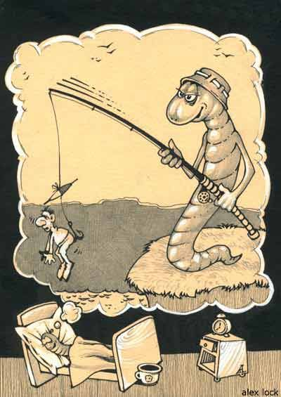 Funny Cartoon Of Fishing Worm And Man On The Hook Fishing Funny