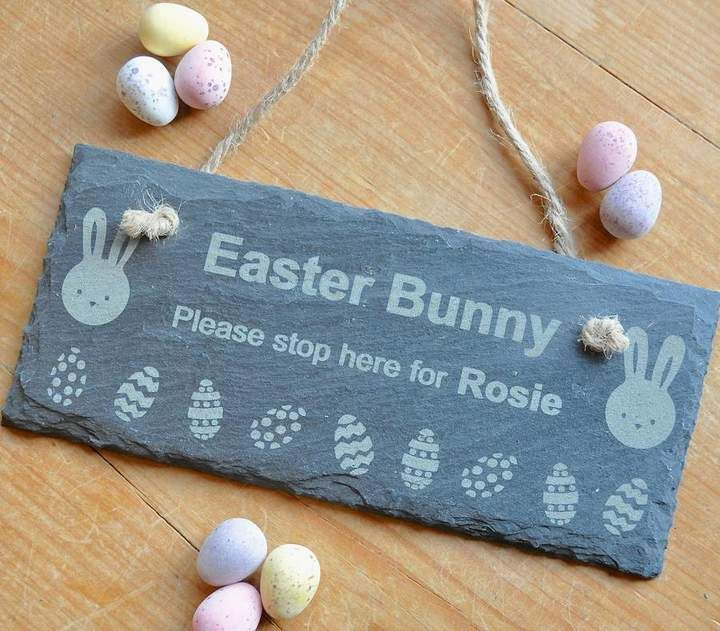 Sweet pea design personalised easter bunny slate sign a sweet pea design personalised easter bunny slate sign a personalised slate sign with a quirky easter egg and bunny engraved design a unique gift negle Choice Image