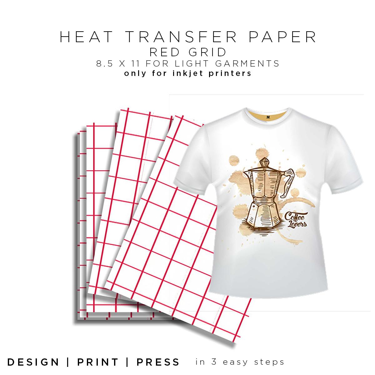 """HEAT TRANSFER PAPER FOR INKJET PRINTING  RED GRID  200PK LIGHT 11/""""x17"""""""