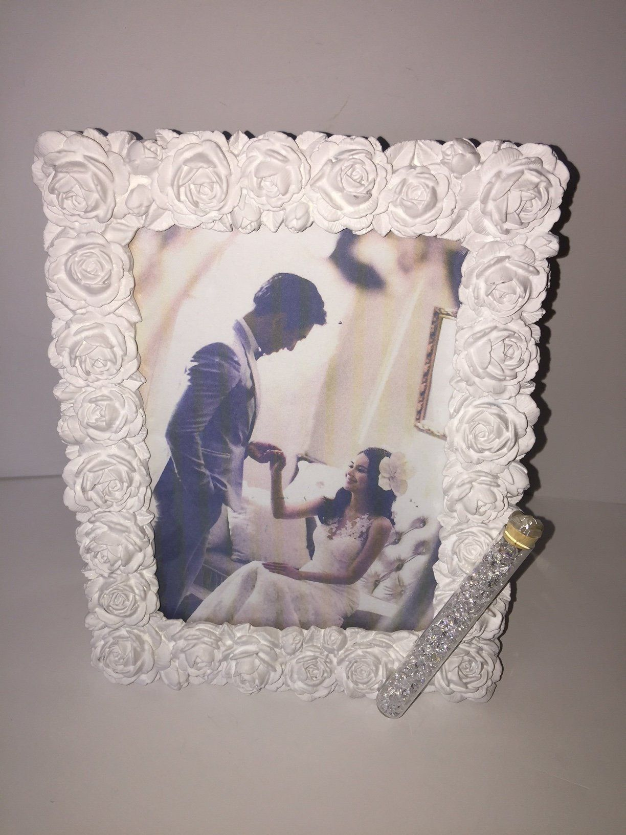 Jewish Wedding White Roses Photo Picture Frame With