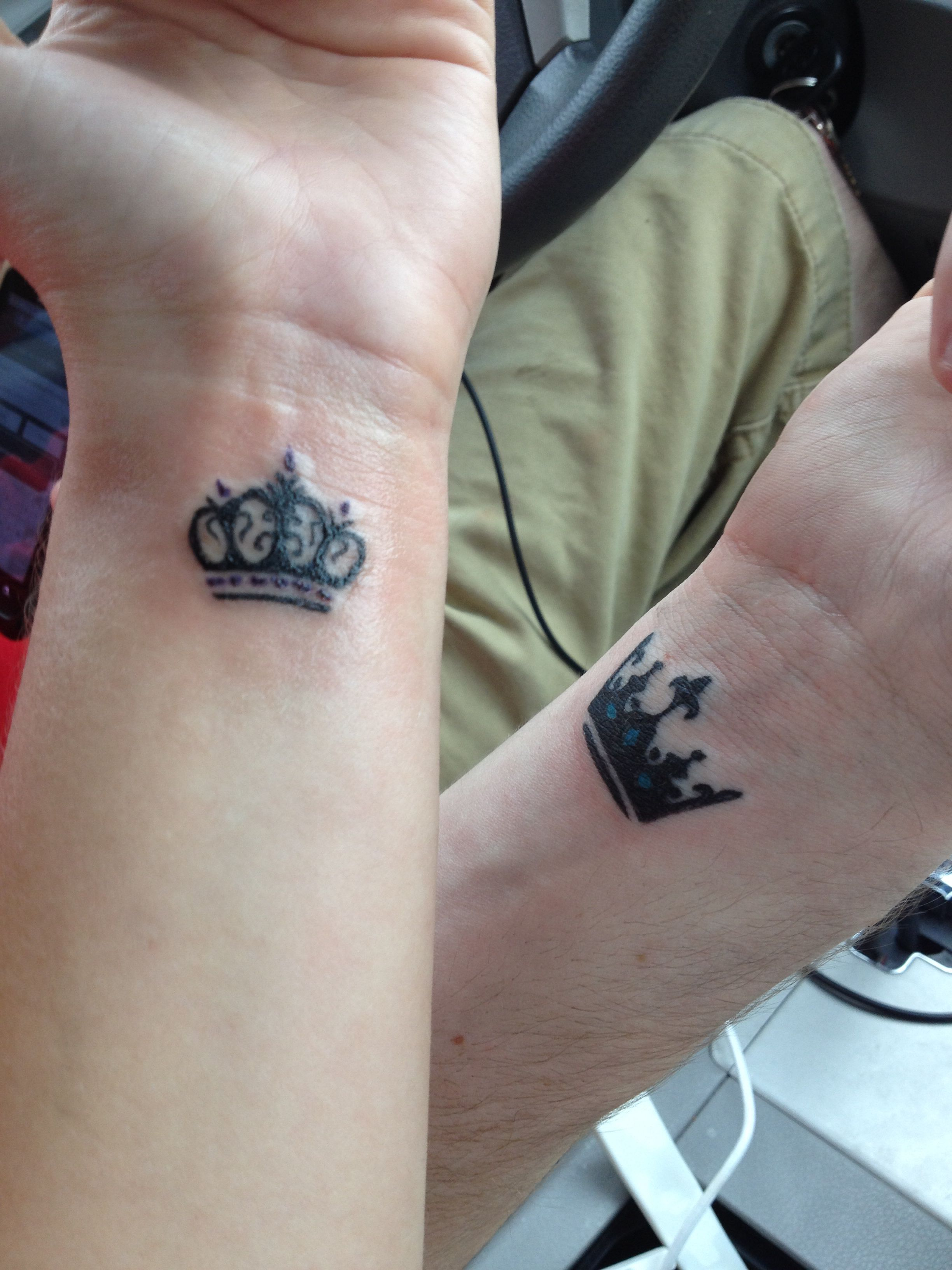 Crown tattoos crown tattoo couples princess prince for Matching king and queen tattoos