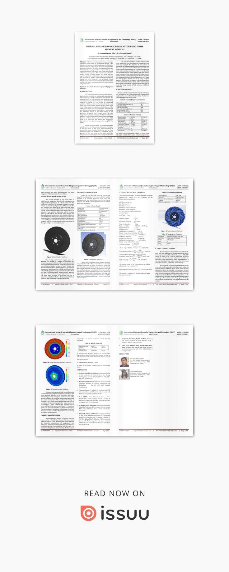 IRJET Thermal Behavior of Disc Brake Rotor using Finite