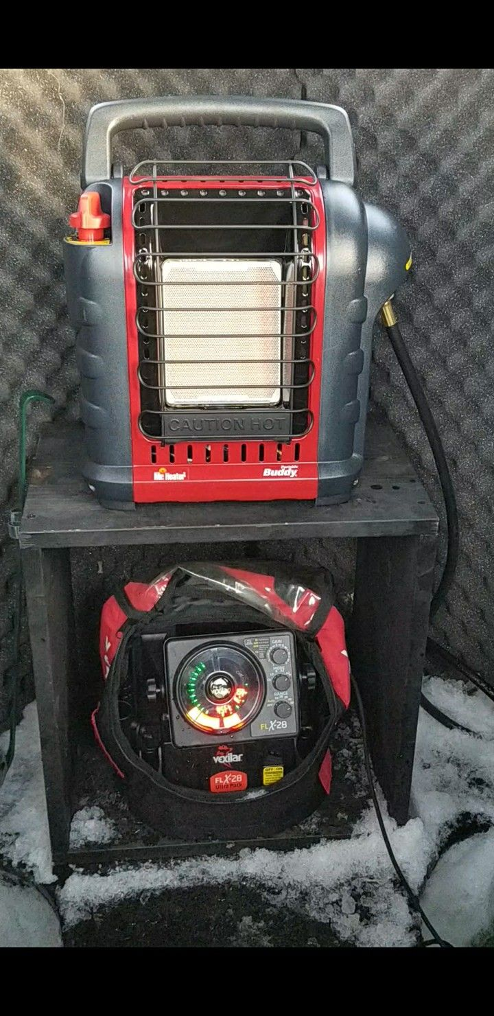 Ice fishing stand for heater and Vexlar fish finder