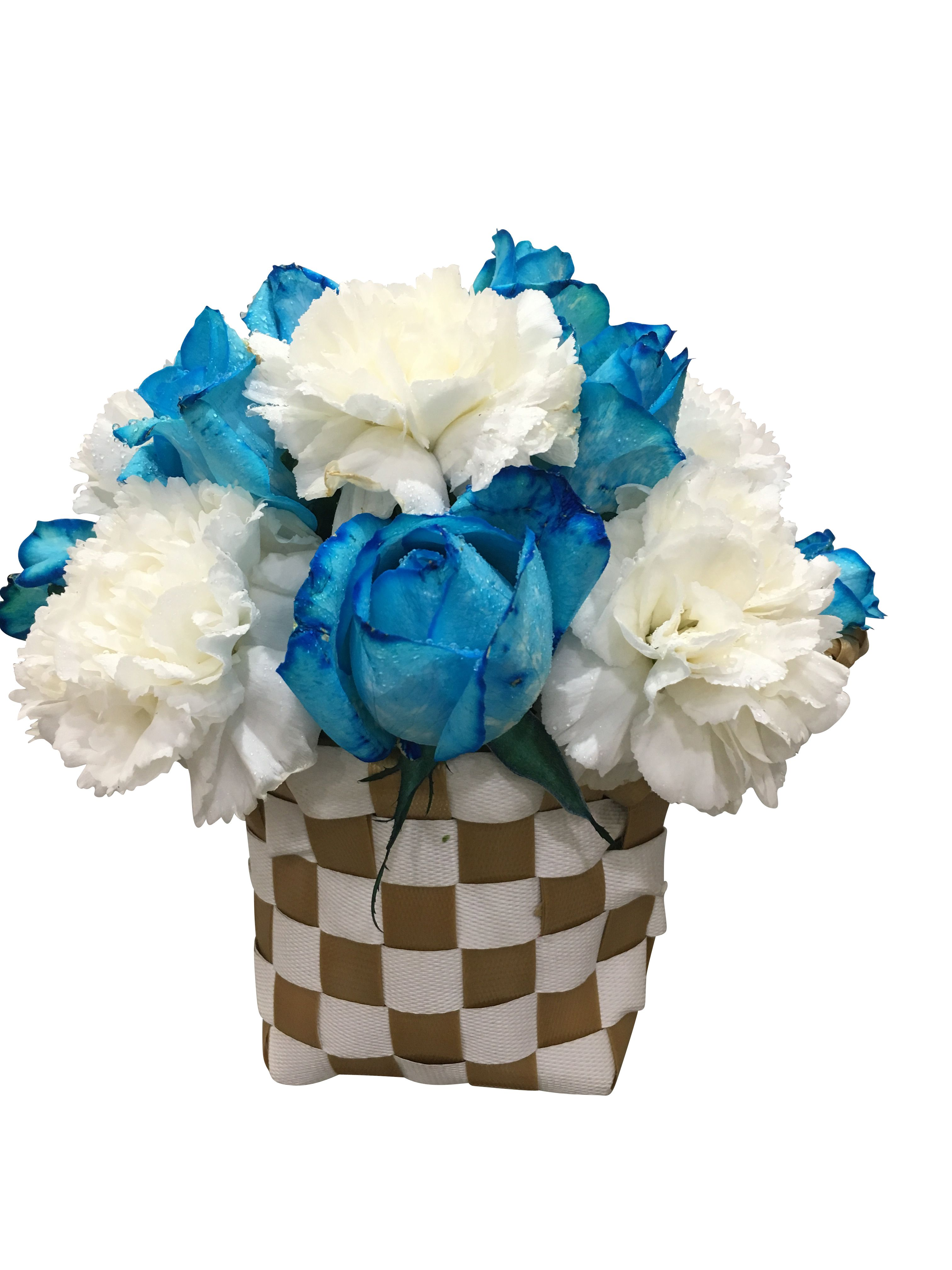 This Mixed Beauty Is Containing With White Carnation And Blue Roses