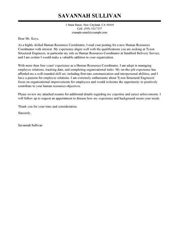 Best Hr Coordinator Cover Letter Exles Livecareer