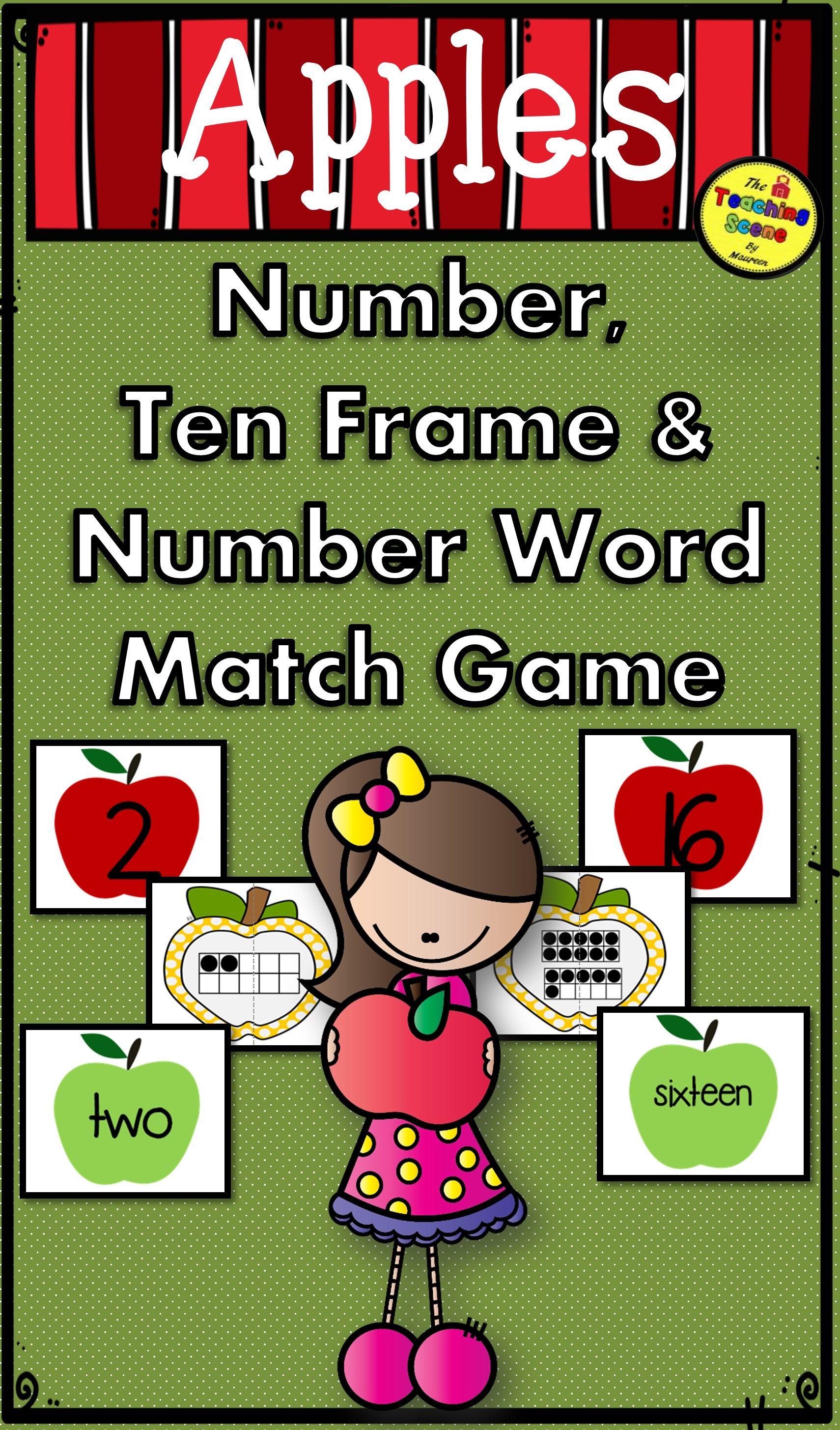 Apple Number Ten Frame Amp Number Word 0 25 Match Game For