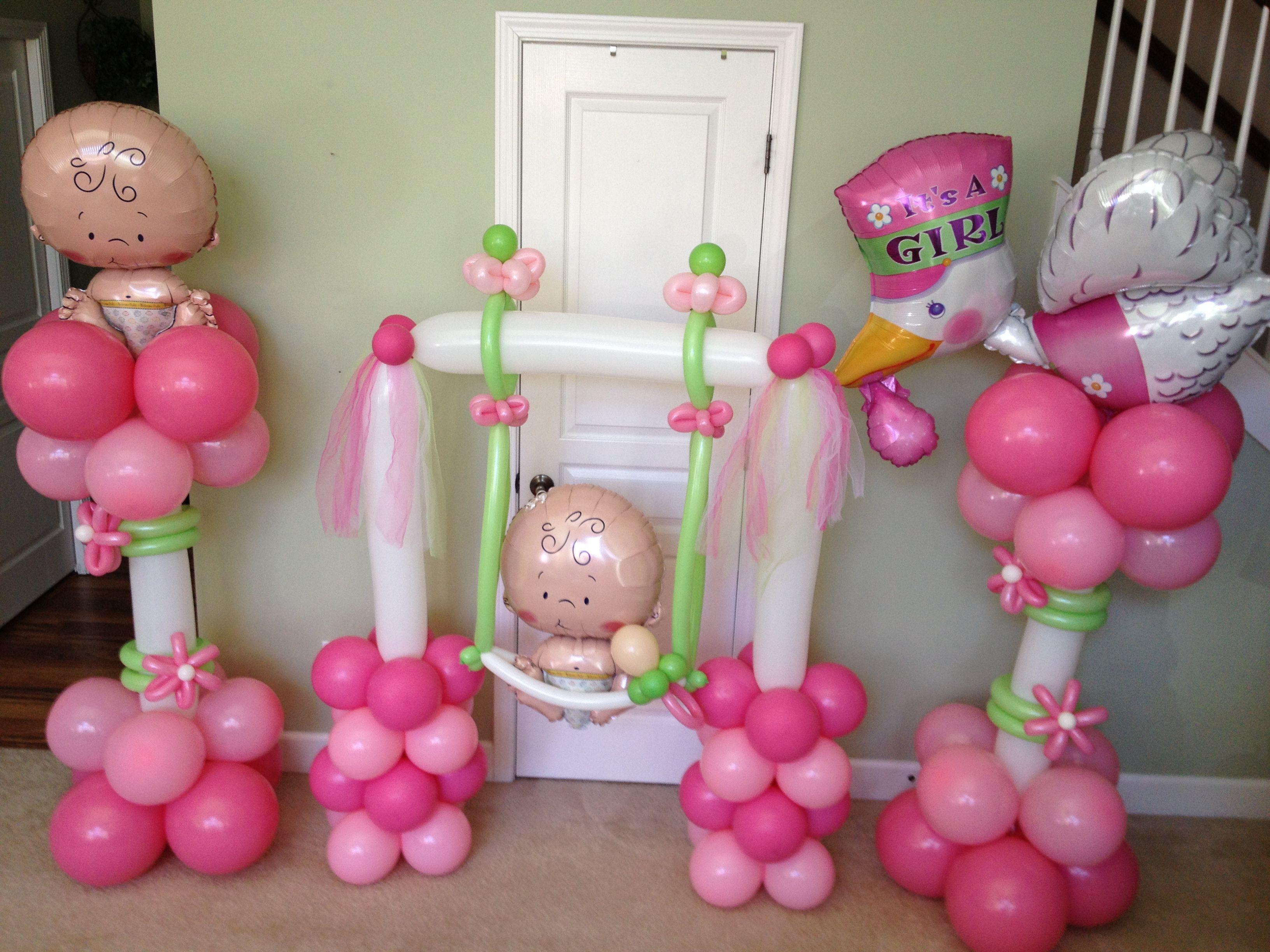 Baby girl balloon decorations baby shower balloons for Balloon decoration for baby shower