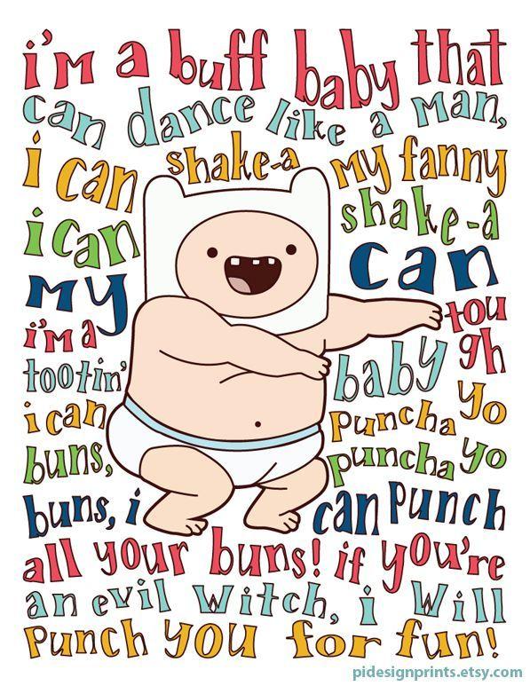 Baby Finn Dance Song Print | Puncha Yo Buns Song Lyric Poster | Adventure Time Wall Art | Digital Do