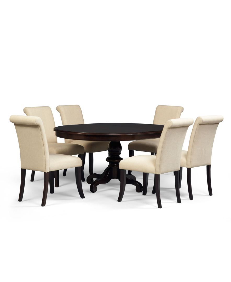 Bradford 7 Piece Round Dining Room Furniture Set With Upholstered Chairs