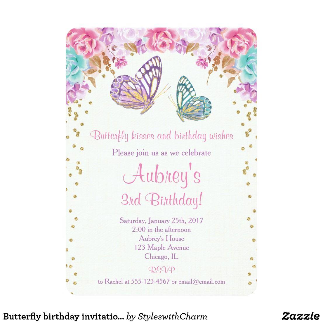 Butterfly birthday invitation, pink purple gold invitation | { Happy ...