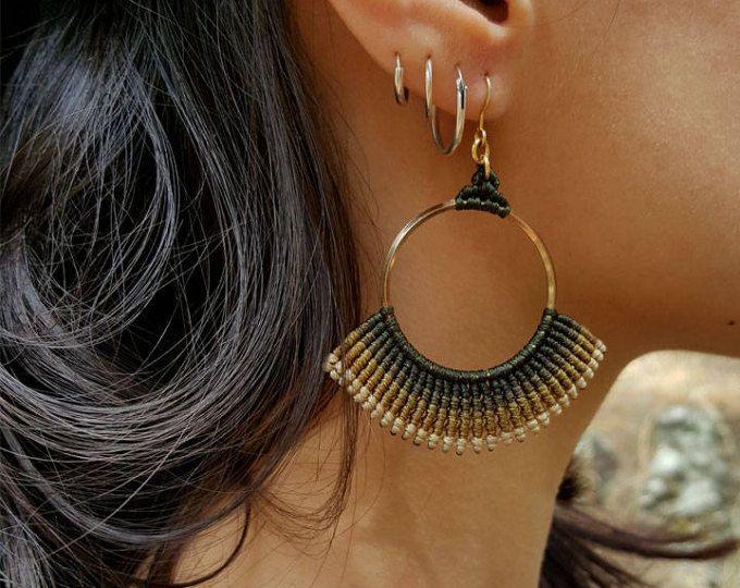d460412bec10 Macrame earrings , African Tribal , Hippie boho earrings, Full color ...