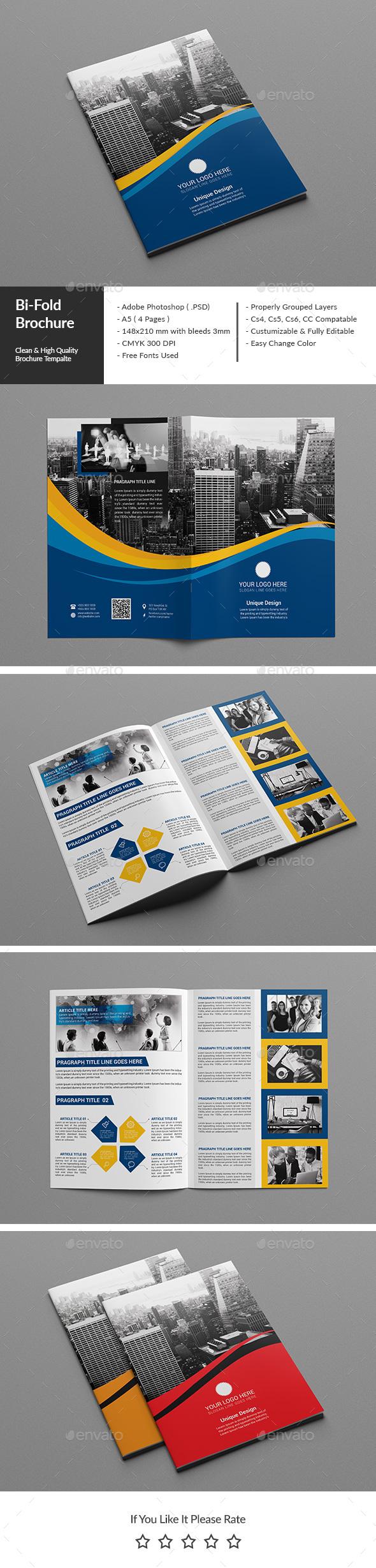 Corporate Bi Fold Brochure 02 Brochures Brochure Template And