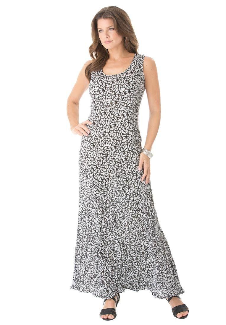 Roamans Womens Plus Size A Line Crinkle Maxi Dress At Amazon