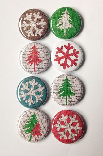 snowflakes snow Burlap Winter Flair by aflairforbuttons on Etsy, $6.00
