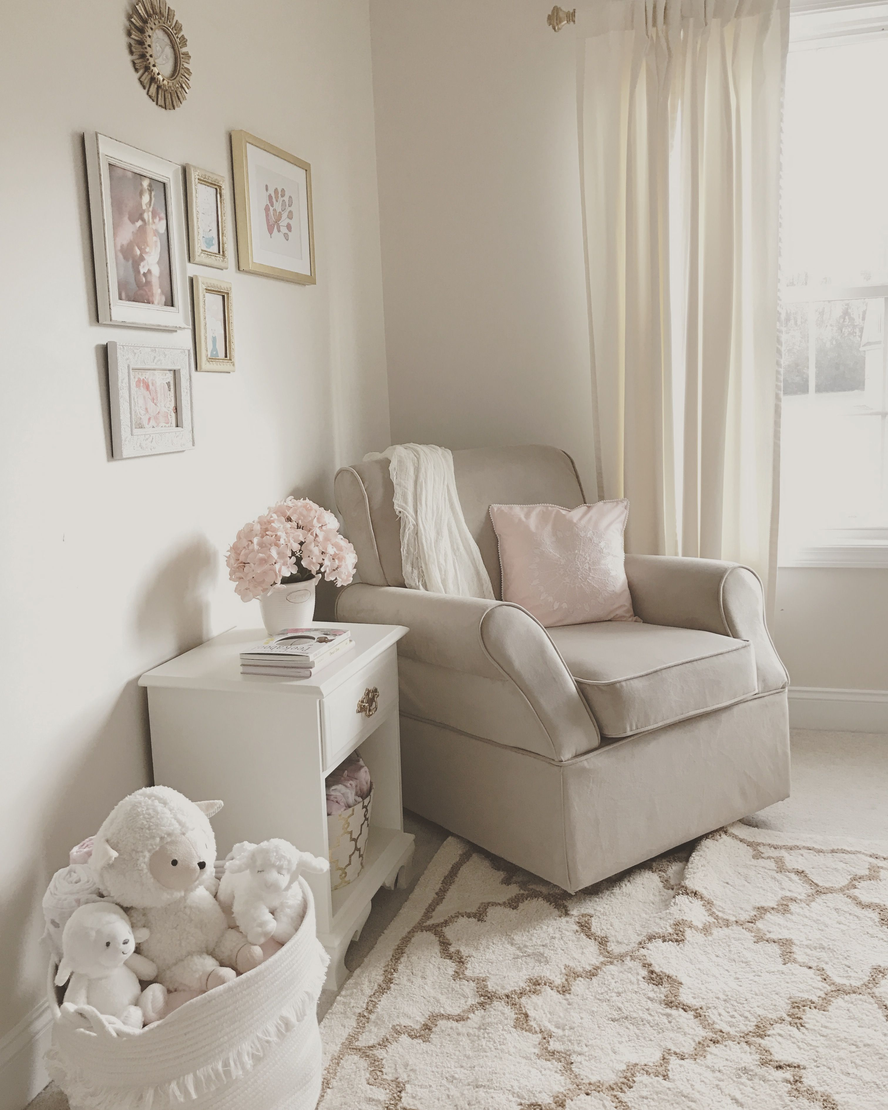 Pink Nursery Rocking Chair Covers For Living Room Chairs Neutral White Gold And Blush Beige Rocker Glider Baby Girl Flowers Hydrangeas Framed Art Wall Gallery