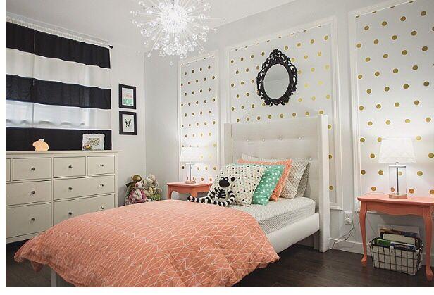 little girls room coral teal black white gold polka dot bedroom kaybree white gold. Black Bedroom Furniture Sets. Home Design Ideas