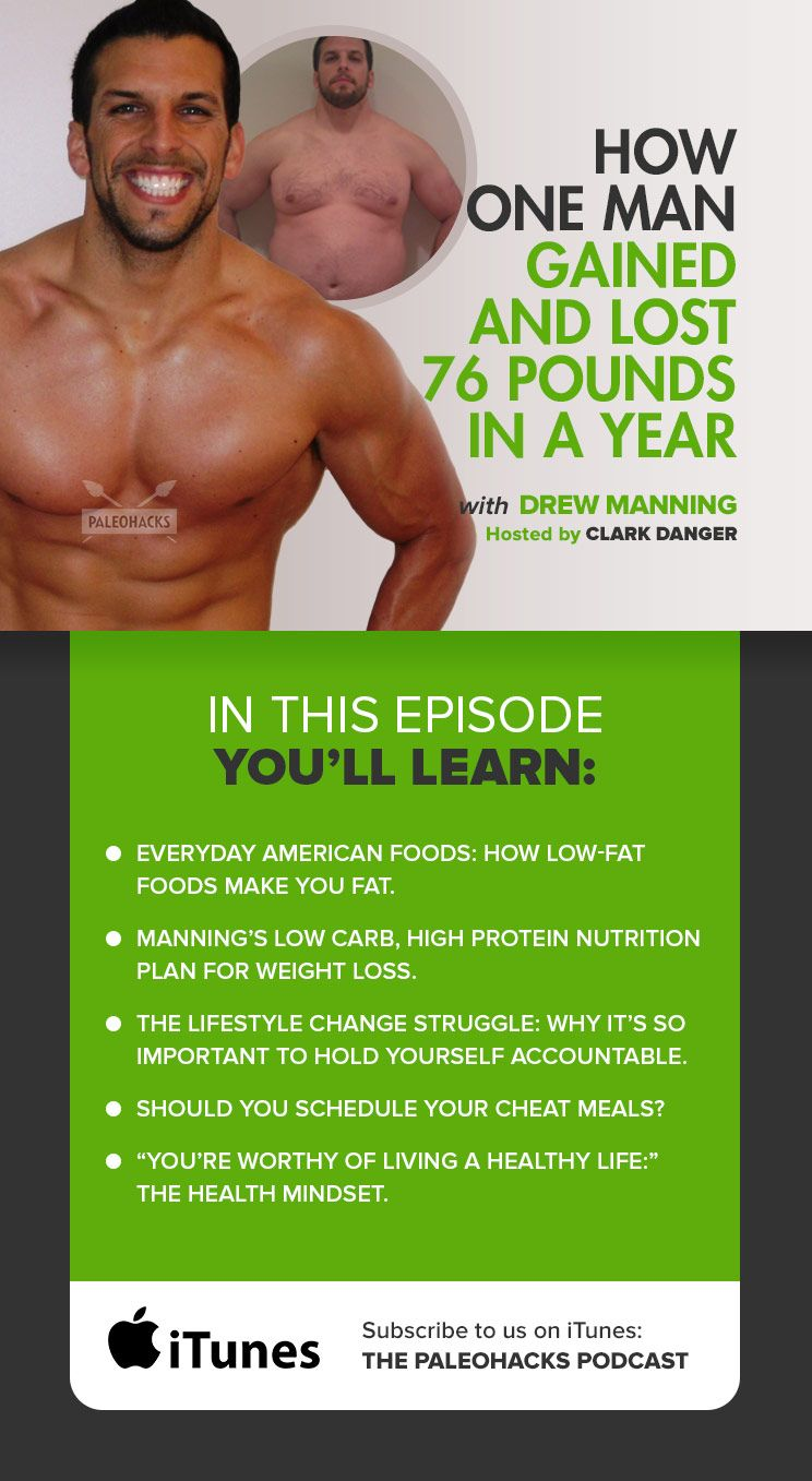 Could you gain, then lose, 76 pounds over the course of a year? How about on national TV? That's what personal trainer Drew Manning, of Fit2Fat2Fit fame, did just a few years ago. Beyond weight, he gained empathy for his clients who battled lifelong weight loss struggles and picked up some important health insights along the way. For the full episode visit us here: http://paleo.co/DrewFit2Fat2Fit