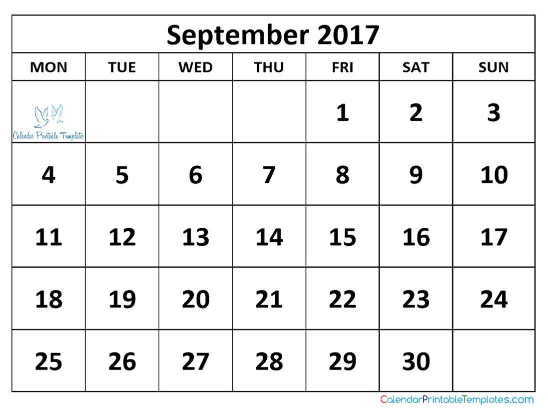 September 2017 Calendar Printable http://www ...