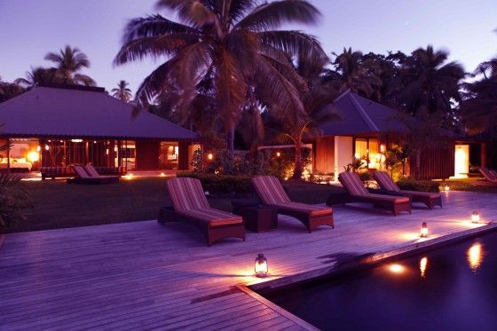 Evening view of The Residence at Vomo Island Resort, Fiji  www.islandescapes.com.au