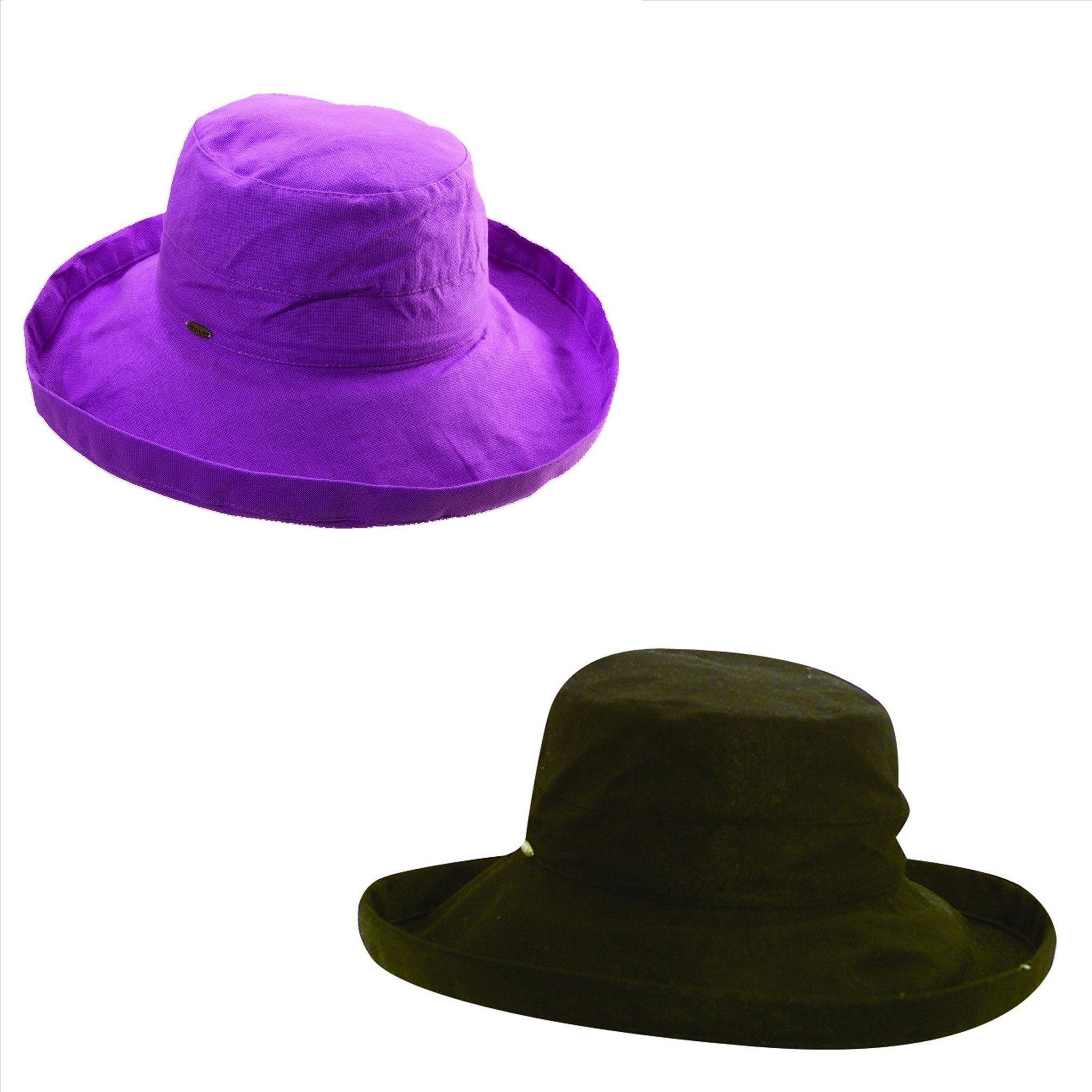 Scala Womens Cotton 4 Inch Brim UPF 50+ Hat (Pack of 2)