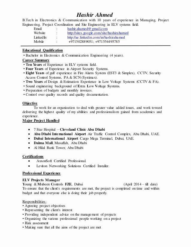 Project Management Job Description Resume Luxury Elv Project Manager Cv In 2020 Project Manager Resume Cover Letter For Resume Job Resume Samples