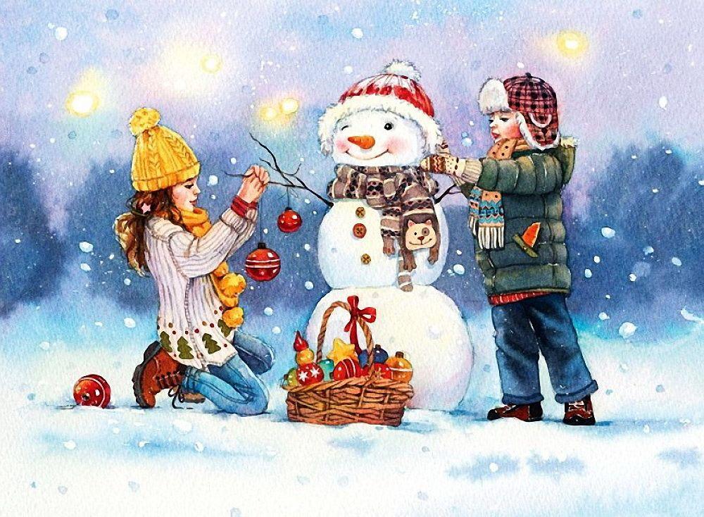 открытка лепим снеговика должен