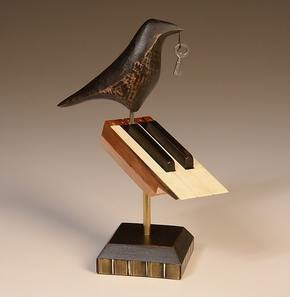 Raven on 5 Piano Keys: Mark Orr: Wood Sculpture - Artful Home