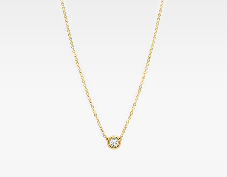 gold solitaire asp p diamond necklace