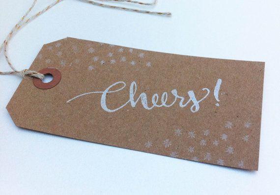 Cheers Wine Gift Tags - Handwritten Calligraphy - Kraft Brown - White Ink - Set of 5