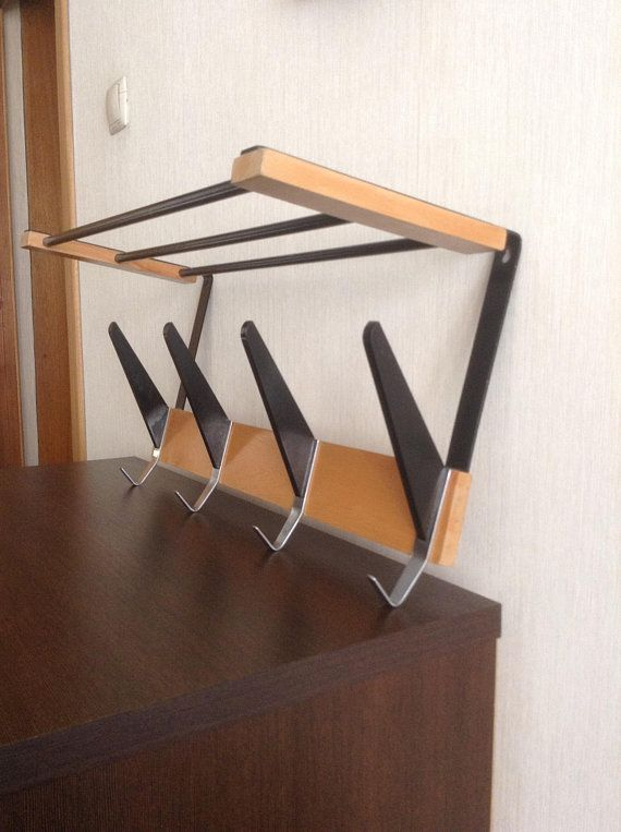 Vintage 40s WARDROBE With Hat Shelf Coat Rack Wooden And Metal Awesome Metal Wall Coat Rack With Shelf