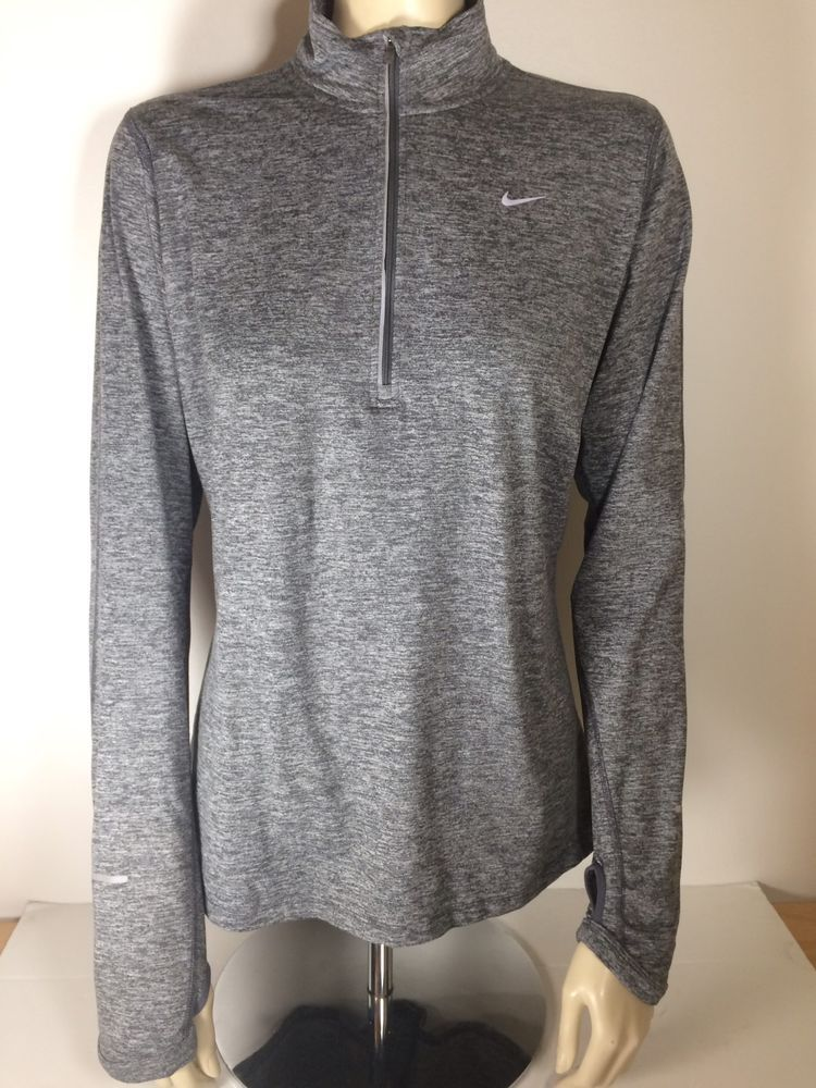 Womens Nike Running Element Dri Fit Half Zip Pullover Gray