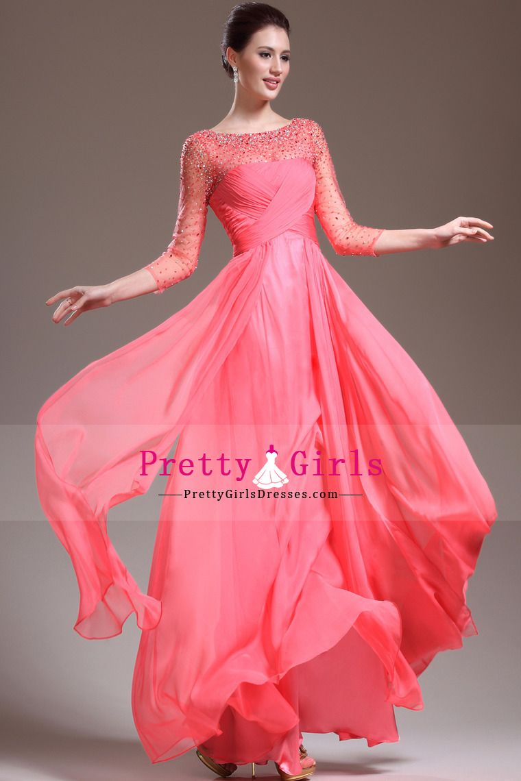 2014 hot selling chiffon scoop floor length ruffled and beaded ...