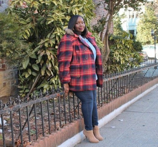 cute plus size outfit: plaid coat, jeans, studded ankle boots