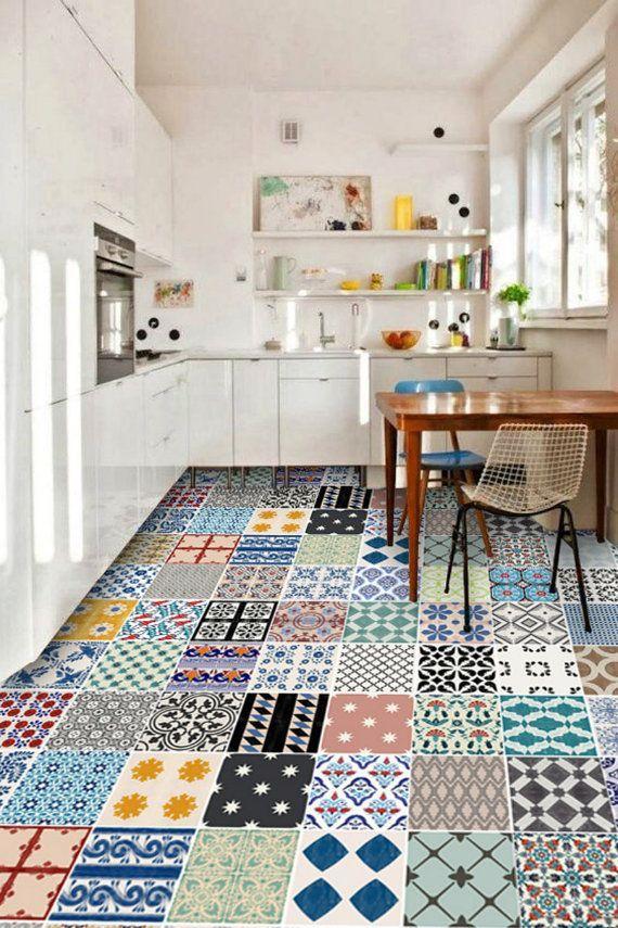 Tile Stickers Tiles For Kitchen Bathroom Back Von Quadrostyle Wallfixtures Wallfixturesceilings Colorful Kitchen Decor Kitchen Tiles Kitchen Flooring