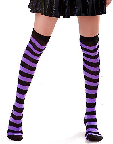 1c5e1cc480394 HDE Women's Sexy Opaque Striped Thigh High Stockings Socks (Black &  Purple) HDE