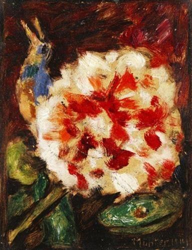 gabriele munter  blume mit vogel und echsenkopf  1911