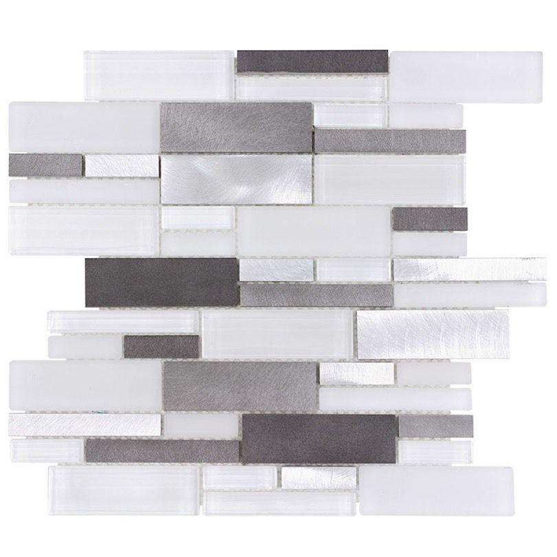 Aluminum Glass Tile Backsplash Ice Blend Bathroom Fireplace