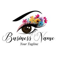 Custom logo, lash flowers logo, eye with flowers logo, eyelash logo, cosmetics logo, beauty makeup lashes logo, Lashes eye logo colorful