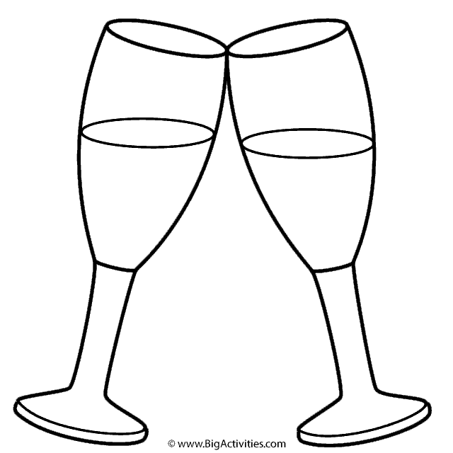 Champagne Glasses Coloring Page New Years Champagne Glasses Coloring Pages Paper Flowers Craft