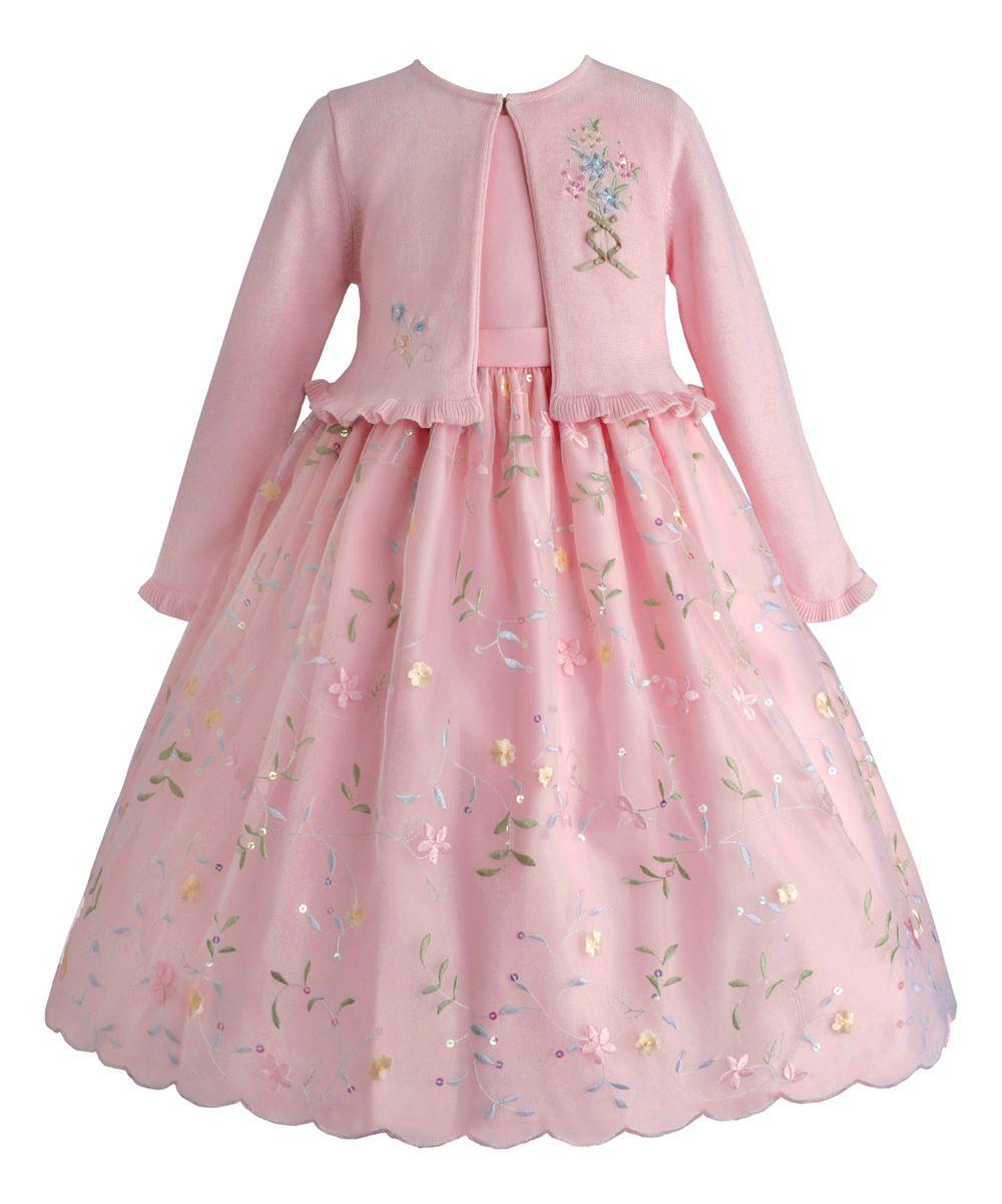 Ice Pink Floral Dress & Cardigan - Infant, Toddler & Girls ...