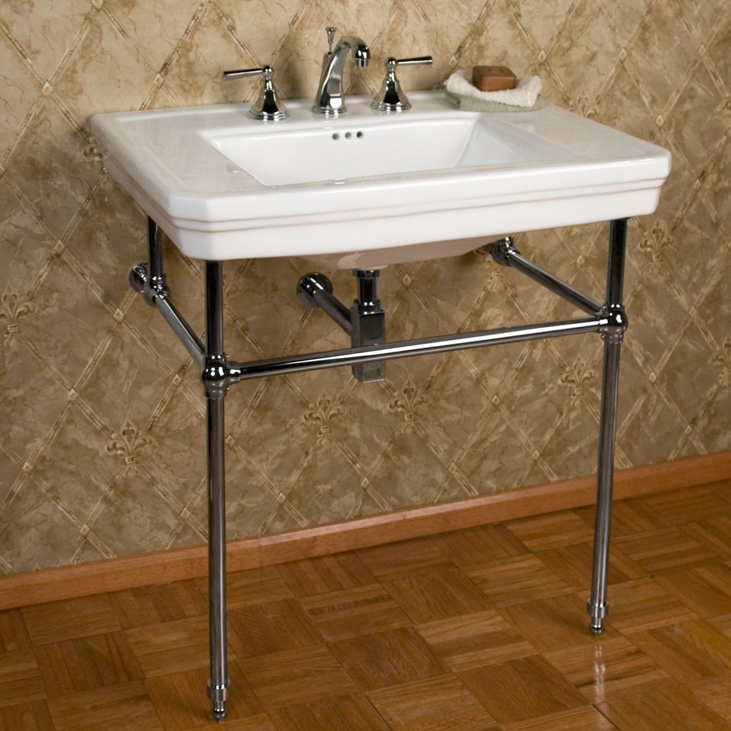 Mason Porcelain Console Sink with Brass Stand  Bathroom