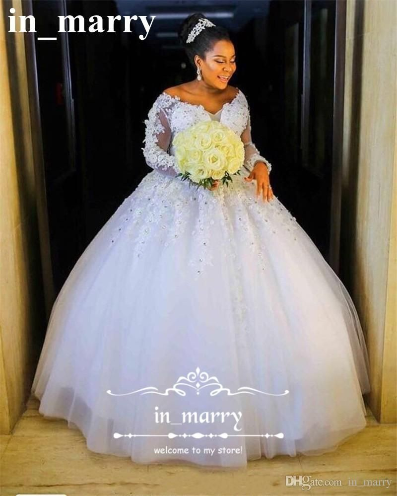 Luxury Bellanaija African Ball Gown Wedding Dresses 2017 Vintage Lace Long Sleeves Pearls Crystals 3d Floral: Black Ball Gown Princess Wedding Dresses At Reisefeber.org