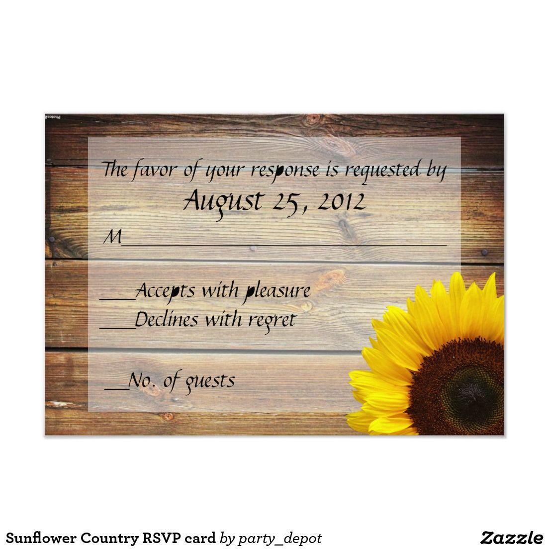 Sunflower Country RSVP card Sunflower